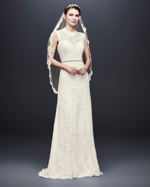 david bridal wedding dress spring 2019 sleeveless high neck lace