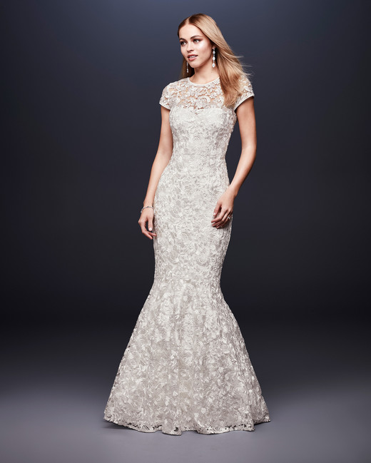 david bridal wedding dress spring 2019 short sleeves lace mermaid