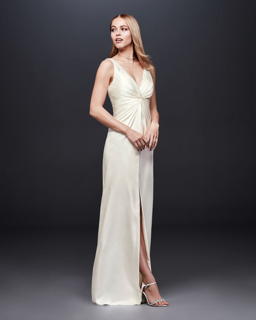 david bridal wedding dress spring 2019 v-neck sleeveless satin