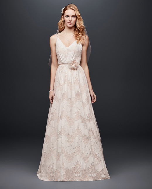david bridal wedding dress spring 2019 spaghetti strap v-neck a-line