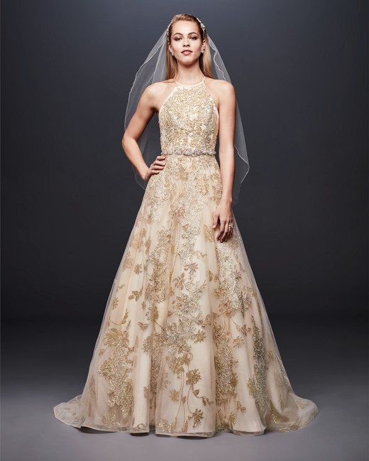 david bridal wedding dress spring 2019 gold halter patterned