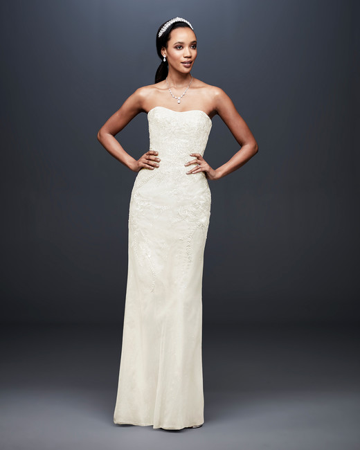 david bridal wedding dress spring 2019 strapless sheath sweatheart