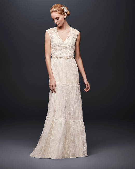 david bridal wedding dress spring 2019 v-neck lace sleeveless