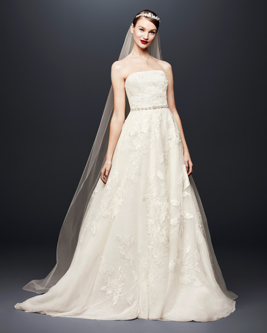 david bridal wedding dress spring 2019 a-line strapless beaded belt