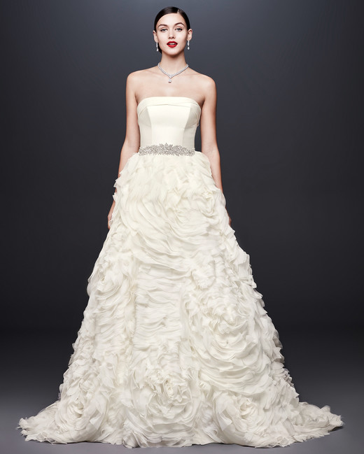 david bridal wedding dress spring 2019 strapless a-line ruffled skirt