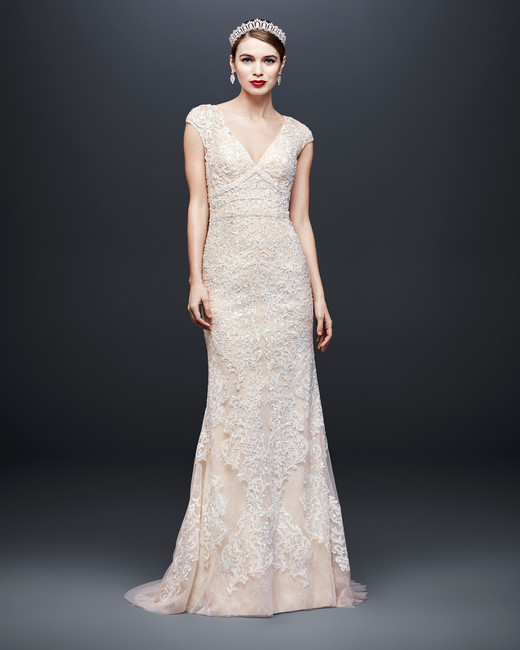 david bridal wedding dress spring 2019 cap sleeves v-neck trumpet