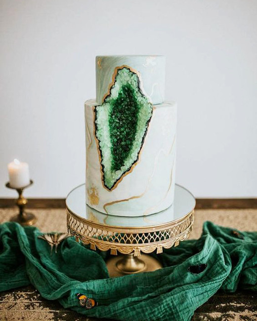 green wedding ideas just like honey geode cake