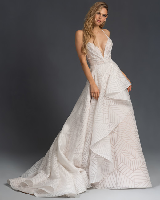 spaghetti strap deep v-neck geometric print a-line wedding dress Hayley Paige Spring 2020