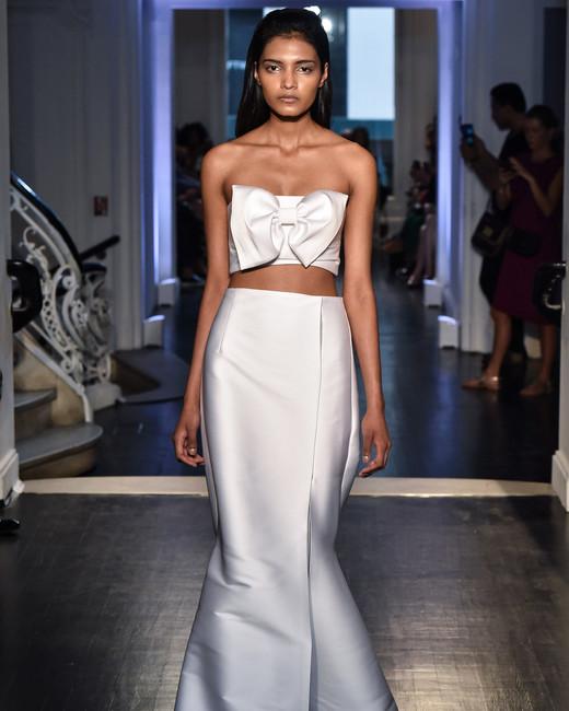 lakum wedding dress fall 2018 two piece crop bow trumpet