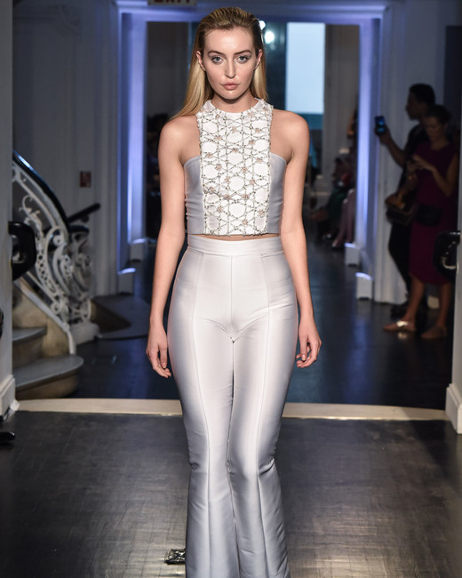 lakum wedding dress fall 2018 two piece pants satin sleeveless