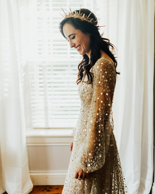 custom made sequin mirror tulle full circle skirt with bell sleeves