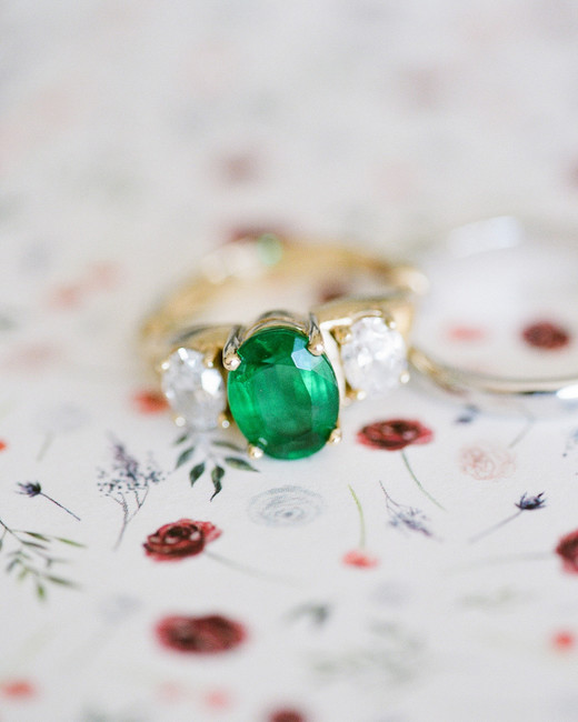 emerald stone gold engagement ring