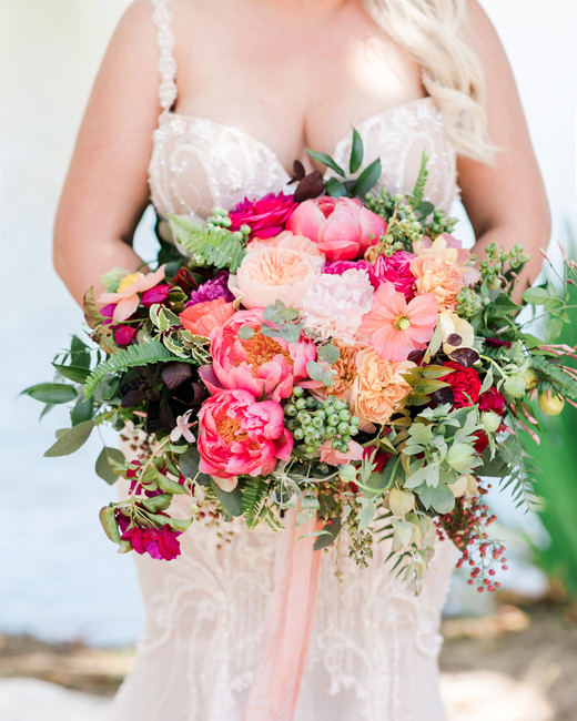 large bouquet of pink and peach flowers