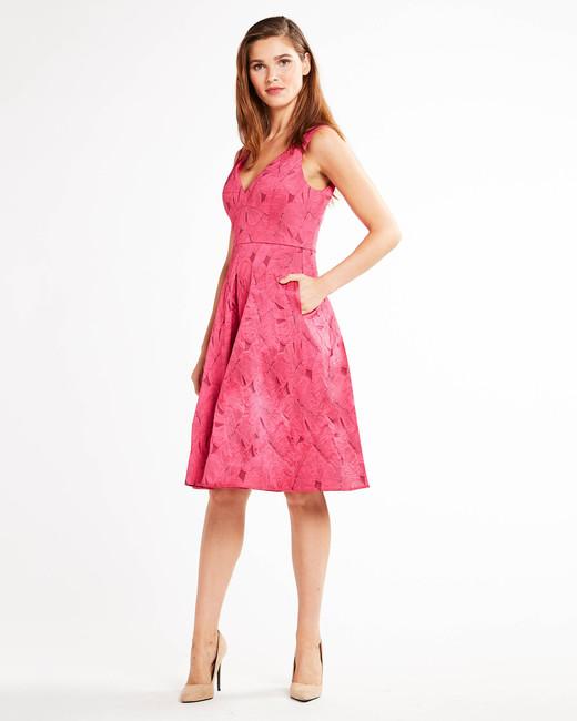 pink short bridesmaid dress with pocket