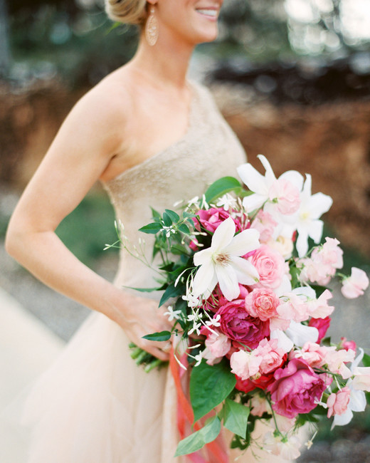 long wedding bouquet with pink and white flowers