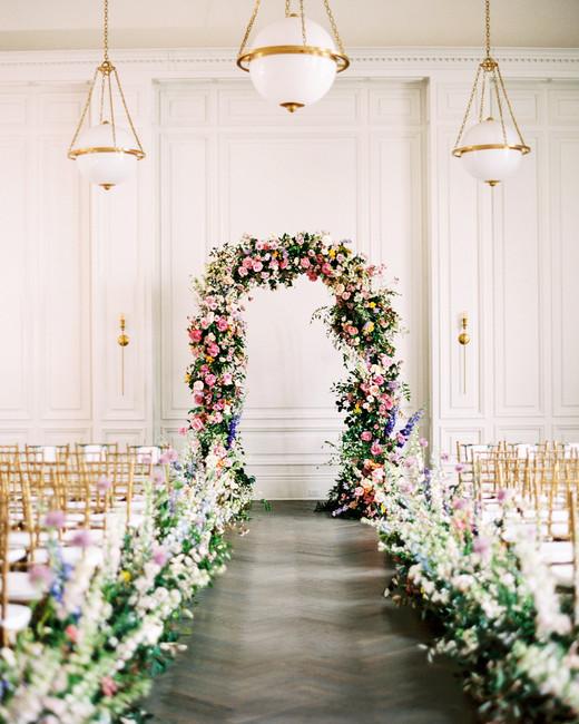 stephanie joe wedding floral ceremony arch