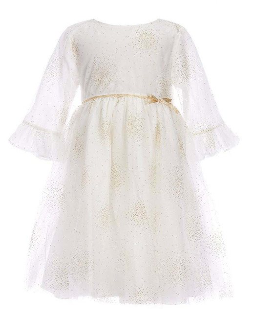 winter flower girl white three-quarter sleeve dress with metallic sparkles