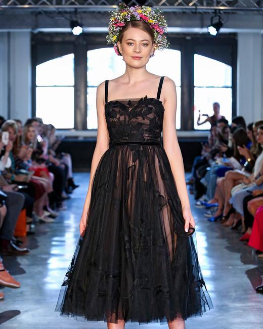 wtoo watters wedding dress spring 2019 black tea-length tullle