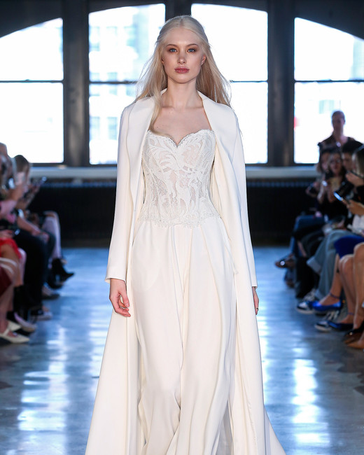wtoo watters wedding dress spring 2019 corseted bodice jumpsuit long jacket