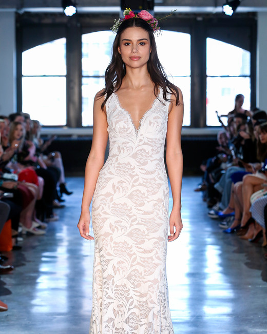 wtoo watters wedding dress spring 2019 v-neck lace sheath