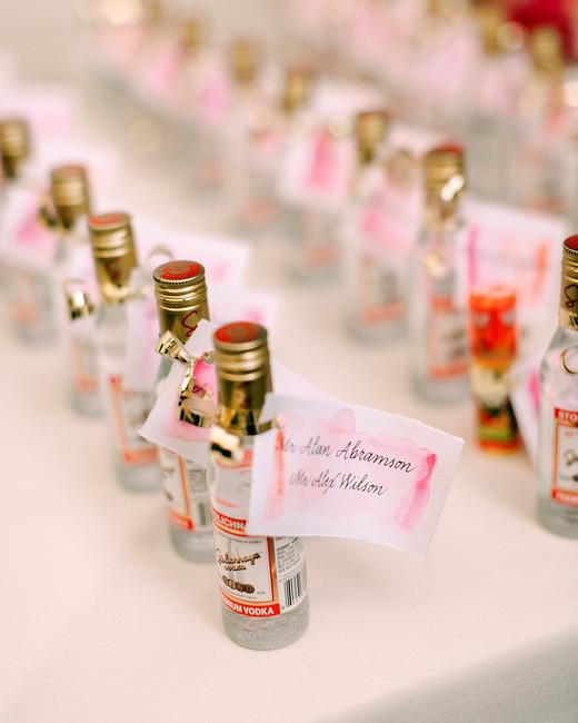alcohol escort cards mini bottles of stoli vodka