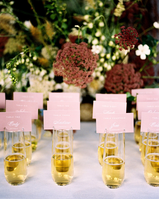 alcohol escort cards stemless champagne with cutout cards