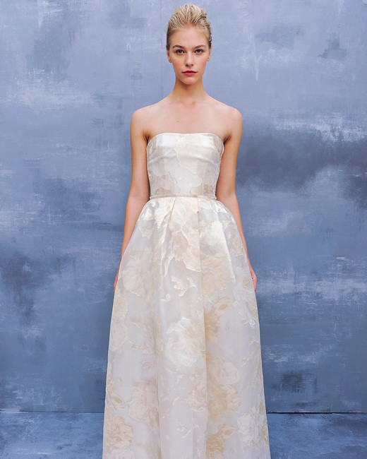 amsale fall 2018 champagne strapless with pattern