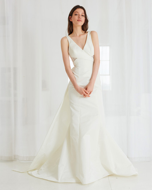 amsale v-neck a-line wedding dress spring 2018