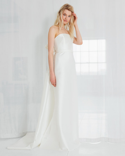 amsale simple strapless wedding dress spring 2018