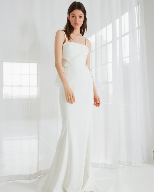 amsale spaghetti strap trumpet wedding dress spring 2018