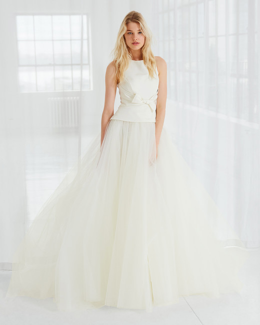 amsale high neck tulle wedding dress spring 2018