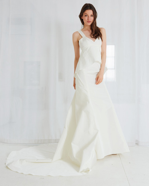 amsale v-neck trumpet wedding dress spring 2018