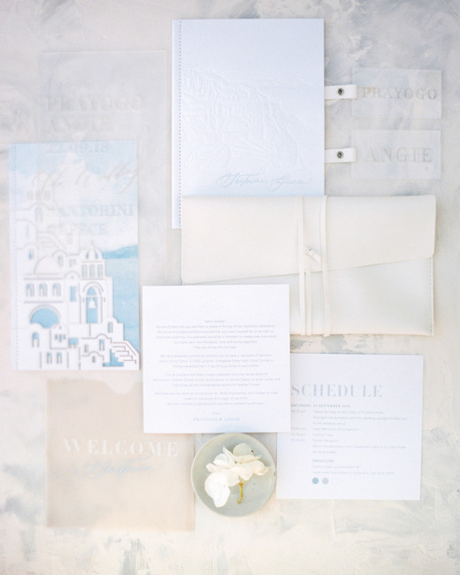 angie prayogo greece wedding stationery suite