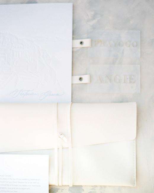 angie prayogo greece wedding acrylic tags