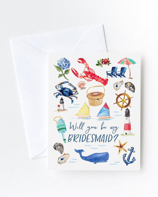 be my bridesmaid nautical illustration card