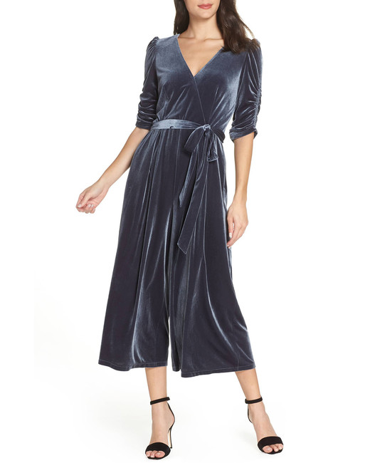 blue gray Velvet Culotte Jumpsuit