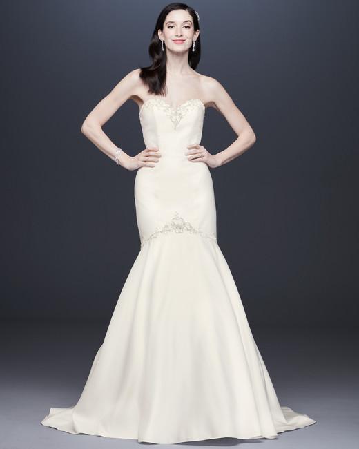 strapless sweetheart beaded mermaid wedding dress Davids Bridal Spring 2020