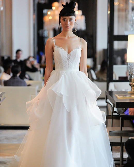 spaghetti strap exposed boning tulle a-line wedding dress Ines Di Santo Spring 2020