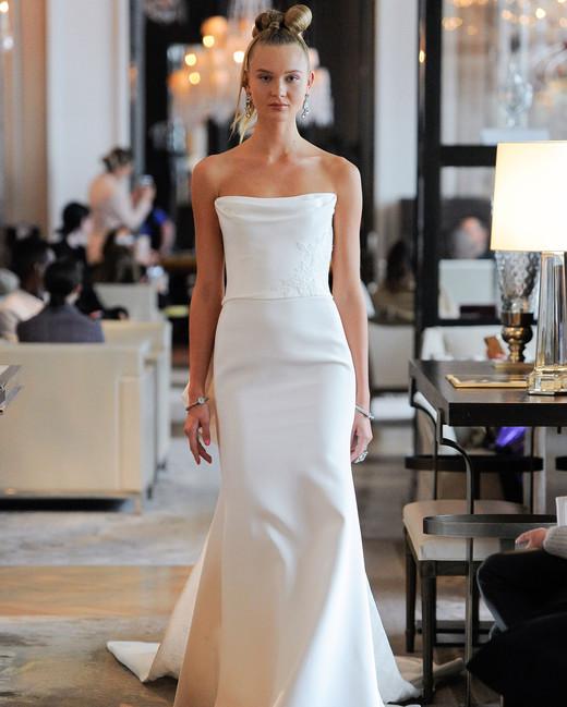strapless straight across semi trumpet wedding dress Ines Di Santo Spring 2020