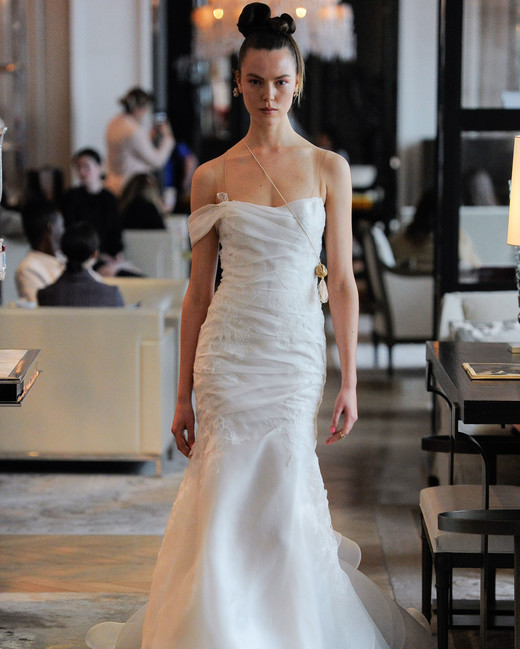 clear spaghetti strap one shoulder tulle ruching trumpet wedding dress Ines Di Santo Spring 2020