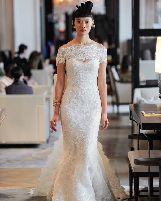 off the shoulder lace keyhole mermaid wedding dress Ines Di Santo Spring 2020