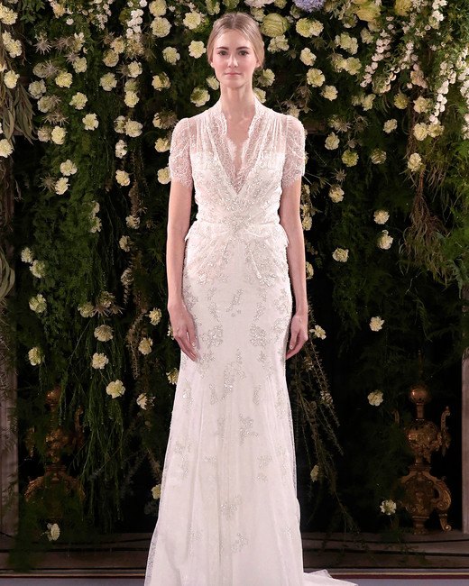 jenny packham wedding dress spring 2019 layered short-sleeved sheath