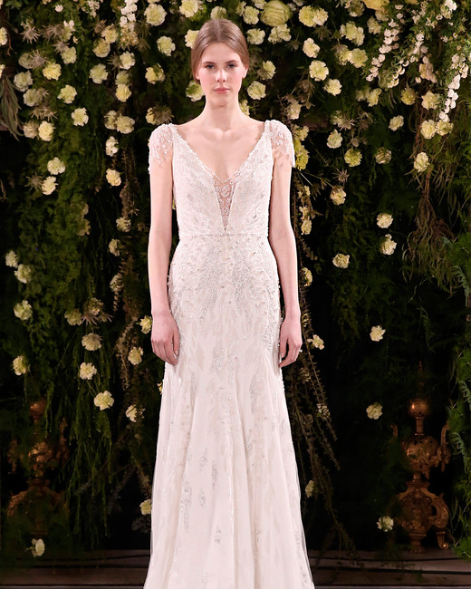 jenny packham wedding dress spring 2019 deep v-neck embellished sleeves