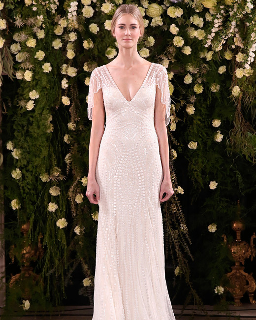 jenny packham wedding dress spring 2019 v-neck sleeve detail beadwork