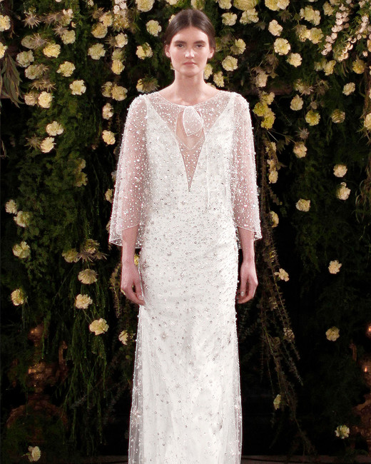 jenny packham wedding dress spring 2019 sheath with embellished cape