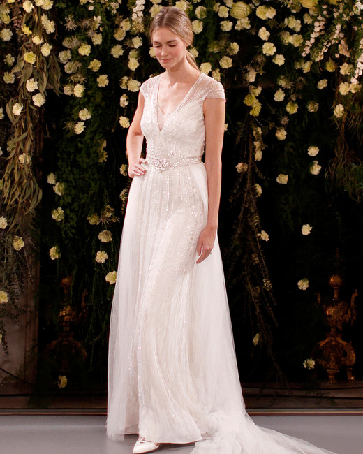 jenny packham wedding dress spring 2019 cap-sleeved embellished overlay