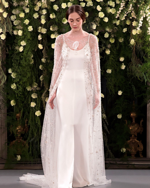 jenny packham wedding dress spring 2019 spaghetti strap with beaded cape