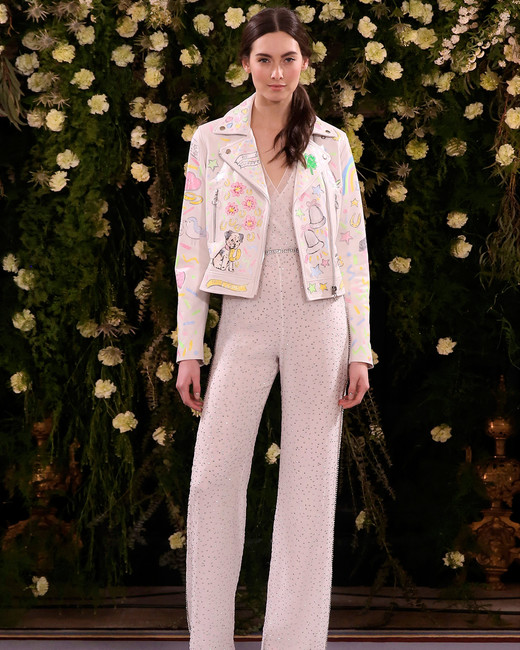 jenny packham wedding dress spring 2019 jumpsuit with embellished jacket