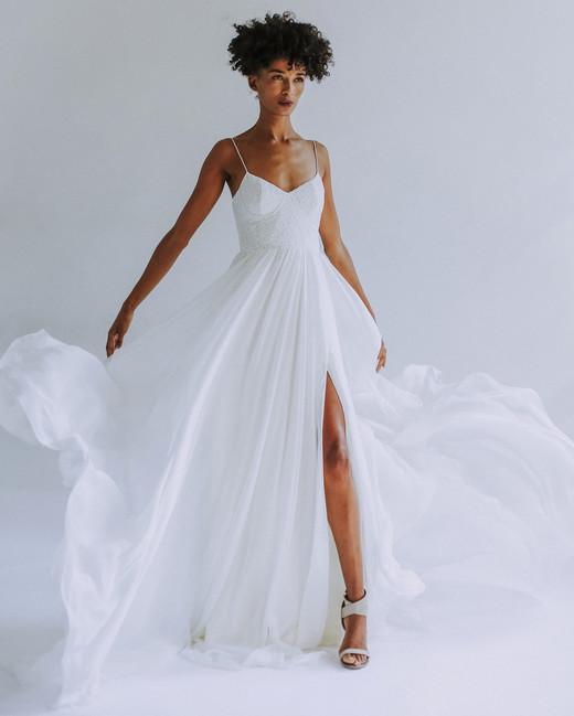 Leanne Marshall spaghetti strap wedding dress fall 2019