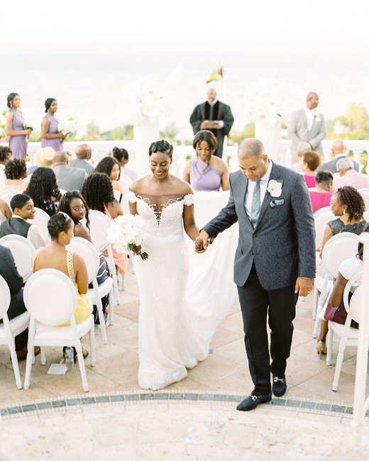 melissa leighton wedding recessional bride and groom